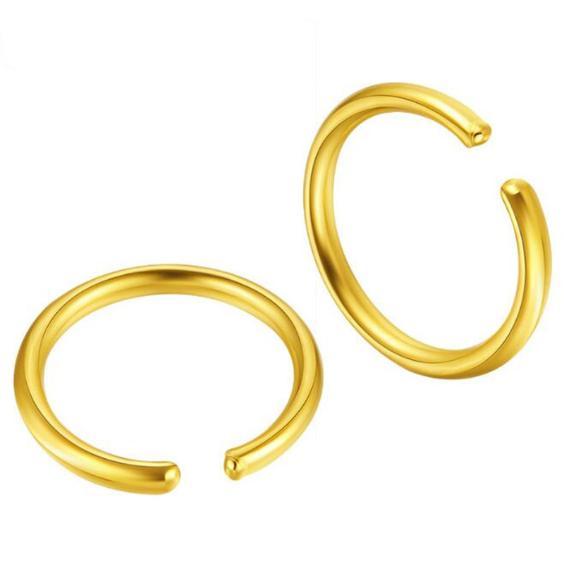 990 Gold Round Earrings Fine Jewelry Wholesale Yellow Gold Inner Dia 7.50mm Thick 0.60mm Circle Huggie Hoop Earrings For Women start line