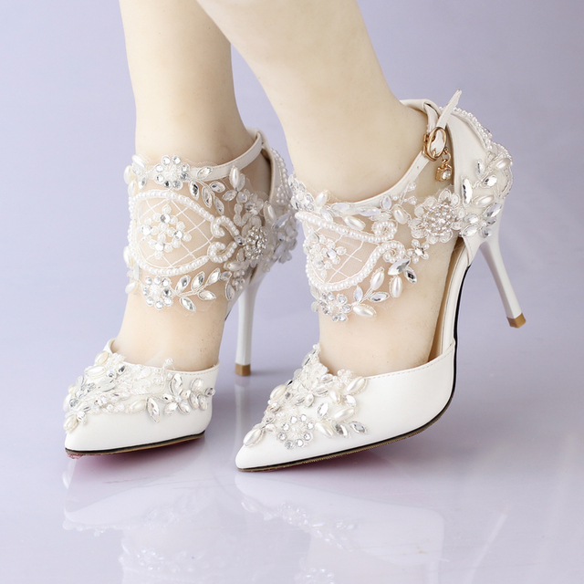 Woman Shoes Summer Pointed Toe Lace Pearl Rhinestone Ultra High Heeled Wedding Female Sandals