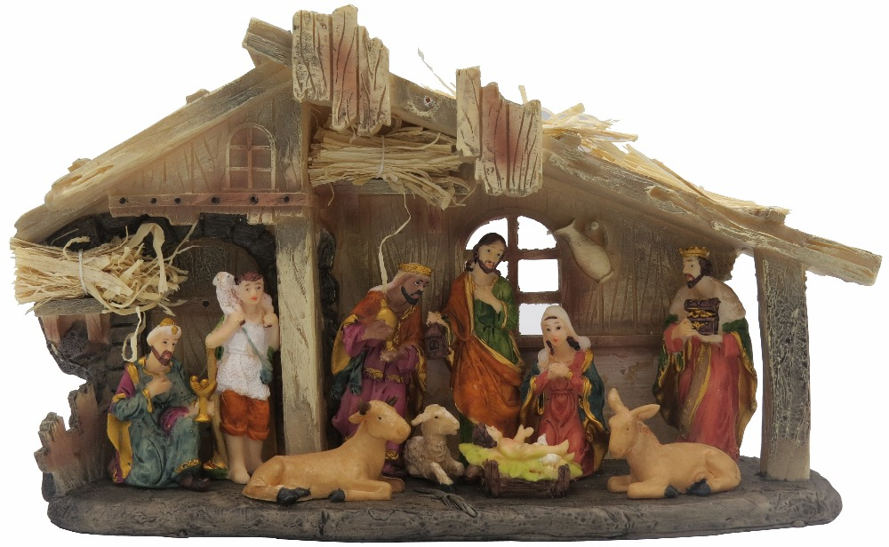 Religious Christmas Images.Us 59 98 Hankroi Ornate Religious Christmas Nativity Statue Baby Jesus Was Born Scene Resin Sculpture Hand Painted Tabletop Figurine In Statues
