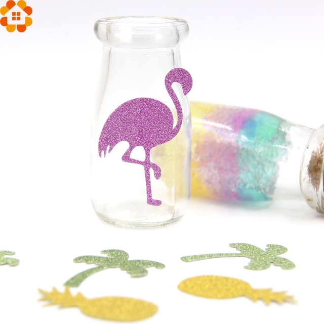 50 piezas decoración Flamingo brillo pegatinas de papel de Flamingo y piña y árbol confeti de cumpleaños/despedida de soltera/fiesta decoración de la boda