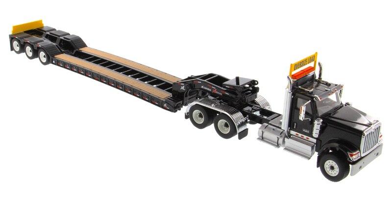 DM-71017 1:50 международный HX520 тандем день кабина трактор с XL 120 Lowboy трейлер в черном