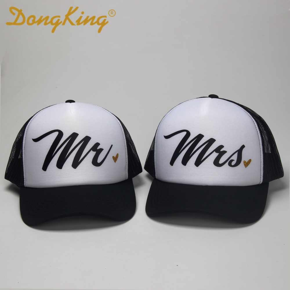DongKing Fashion Trucker Hat Mr Mrs Letters Caps Husband and Wife Wedding  Anniversary Romantic Gift Idea be65129f7ce8