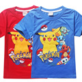 New 3-10Y summer children's tee fashion Pikachu Pokemon Go style boys t-shirts classic Catoon shorts for child boys