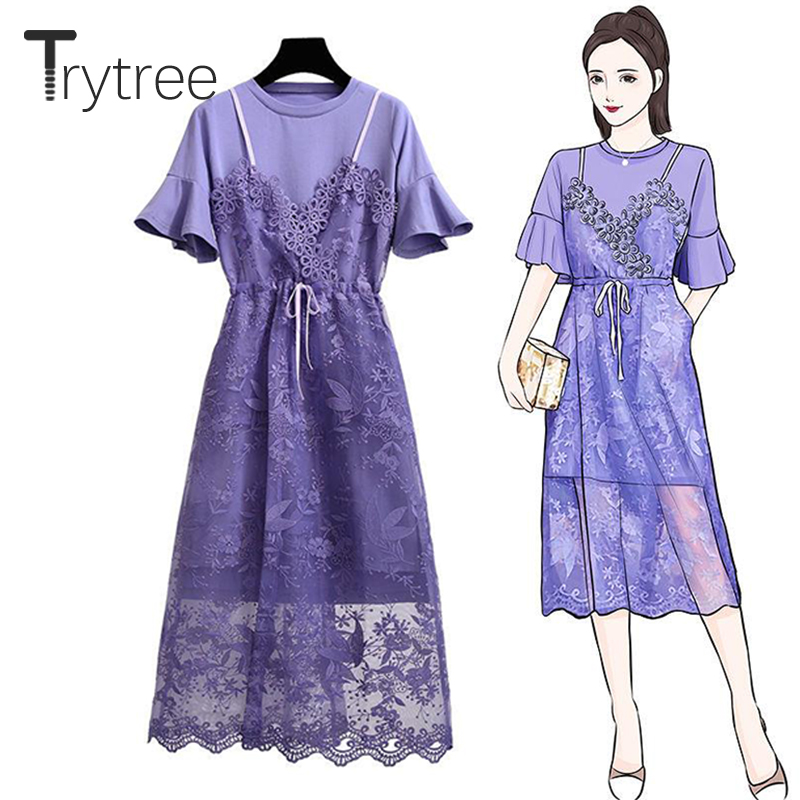 Trytree 2019 Summer Women Two Piece Set Purple Casual Flare Sleeve O-neck Long Top + Dress Drawstring Lace Suit Set 2 Piece Set