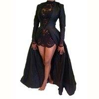 2017 New Fashion Sexy Party Lace Dress Two Piece Black Long Sleeve Elegant Vintage Dress Chiffon