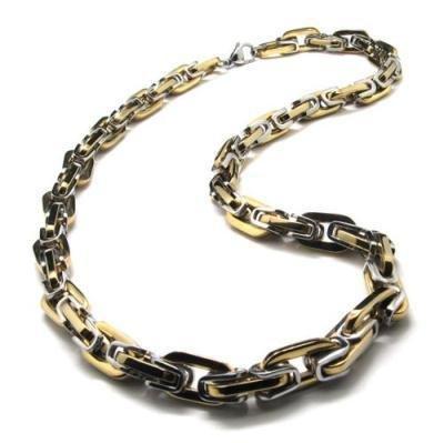 Stainelss Steel Golden Desigened Mens Necklace 10018366