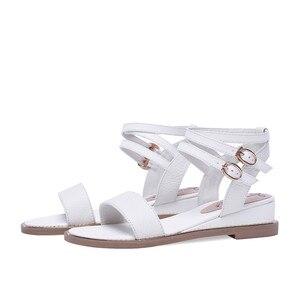 Image 3 - Smirnova 2020 dété nouvelles chaussures femme Décontracté sandales à talons compensés femmes talons en cuir véritable chaussures femmes boucle grande taille 34 43