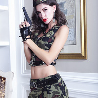 2017 New Camouflage Suit Sexy Perspective Camouflage Army Costumes Sex Cosplay Role Playing Fun Police Underwear