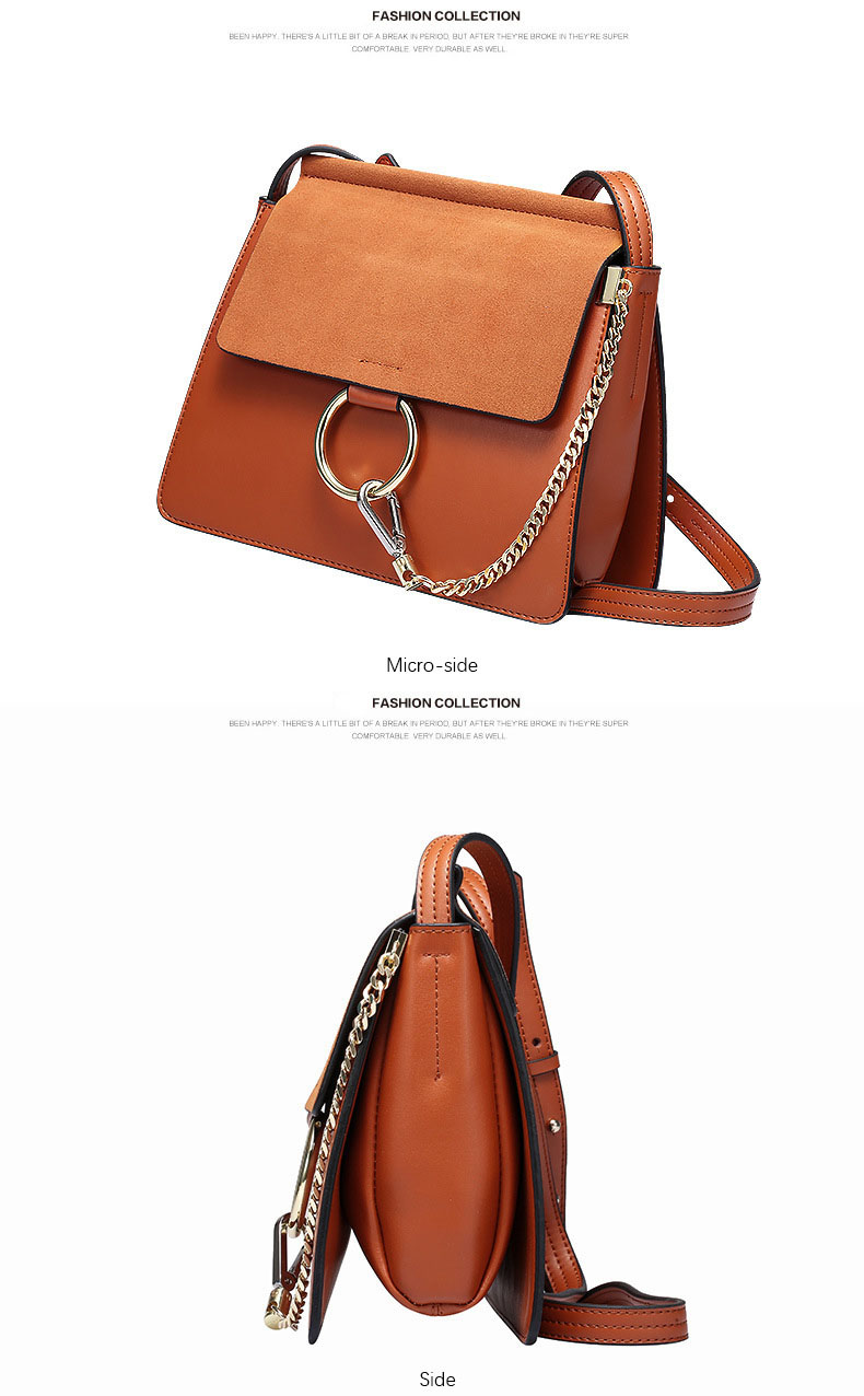 100% Genuine Leather Women Shoulder Bags Famous Brand Metal Ring Chains Women Crossbody Bags Retro Natural Leather Lady Handbag (17)