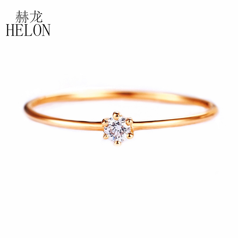 HELON Certified 0.06ct SI/H Natural Diamond Rings For Women Solid 18K Au750 Rose Gold Engagement Wedding Trendy Elegant Jewelry helon solid 18k 750 rose gold 0 1ct f color lab grown moissanite diamond bracelet test positive for women trendy style jewelry