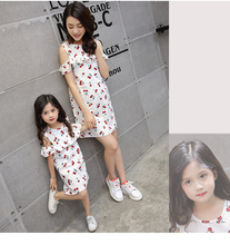 Family look clothing Children summer new cherry ruffled strapless princess matching mother and daughter dress