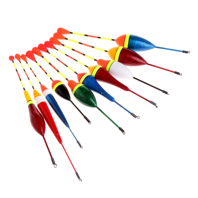 10Pcs/Set Carp Fishing Floats Set Buoy Bobber Stick for Fish Tackle Vertical Mix Size