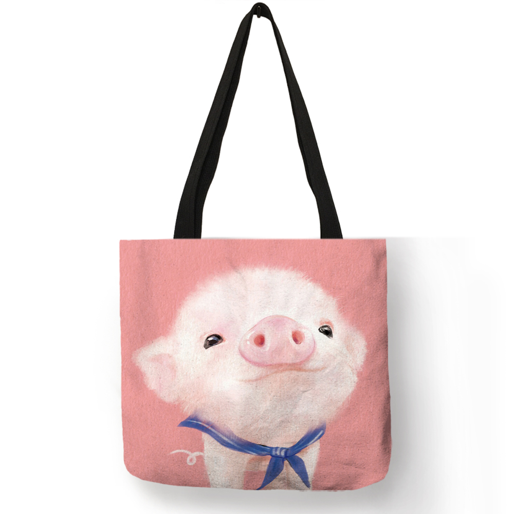 Cartoon Design Hand Bag Cute Animal Pig Cat Printing Tote Bag Eco Linen Fabric Reusable Casual Shoulder Bag