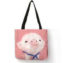 Cartoon Design Hand Bag Cute Animal Pig Rabbit Cat Printing Tote Bag Eco Linen Fabric Reusable Casual Shoulder Bag