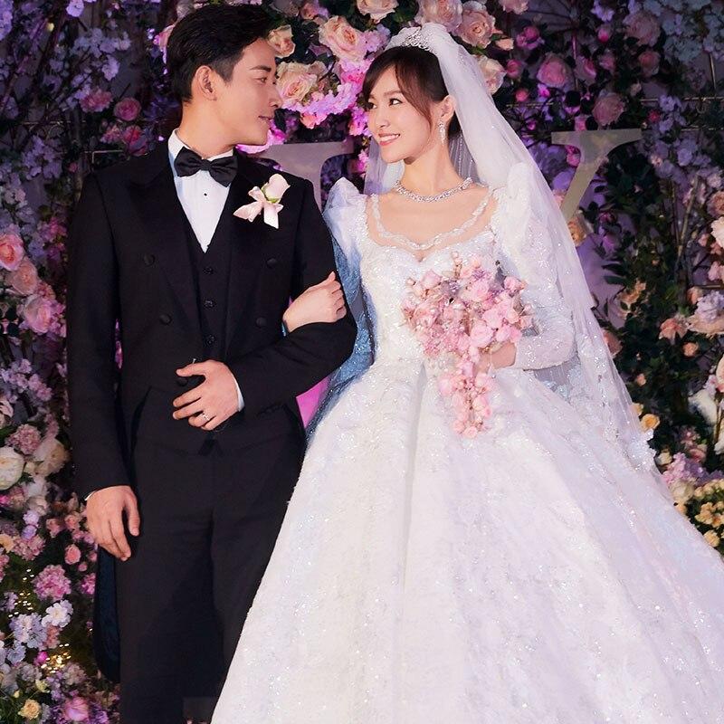 Роскошное Свадебное платье 2019 кружевное свадебное платье с открытой спиной торжественное платье с пышными рукавами свадебное платье Vestido De