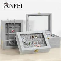 ANFEI 16 סגנון אלגנטי בד קטיפה קטן תיבת תצוגת תכשיטי טבעת/שרשרת/תליון/צמיד אוסף Showcase פונקציונלי