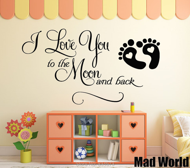 Mad Wereld I Love U De Maan Quote Wall Art Stickers Muurtattoo Home