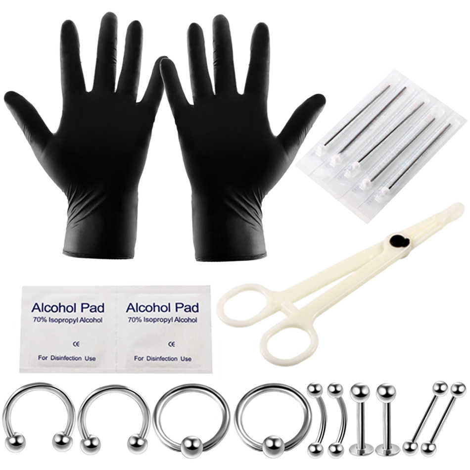Gloves Forceps Needle BodyJewelryOnline 10-Pcs Septum Piercing Kit Horseshoe Circular Septum