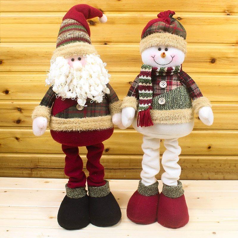 50cm Santa Claus Snowman Christmas Dolls Christmas Decorations For Home Retractable Standing Toy Birthday Party Gift Kids