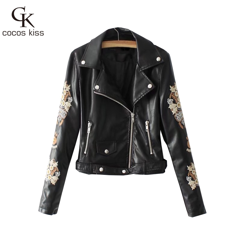 2017 New Autumn Jacket Botton Womens Cool High Street Punk Style Zipper Fly Sashes Embro ...