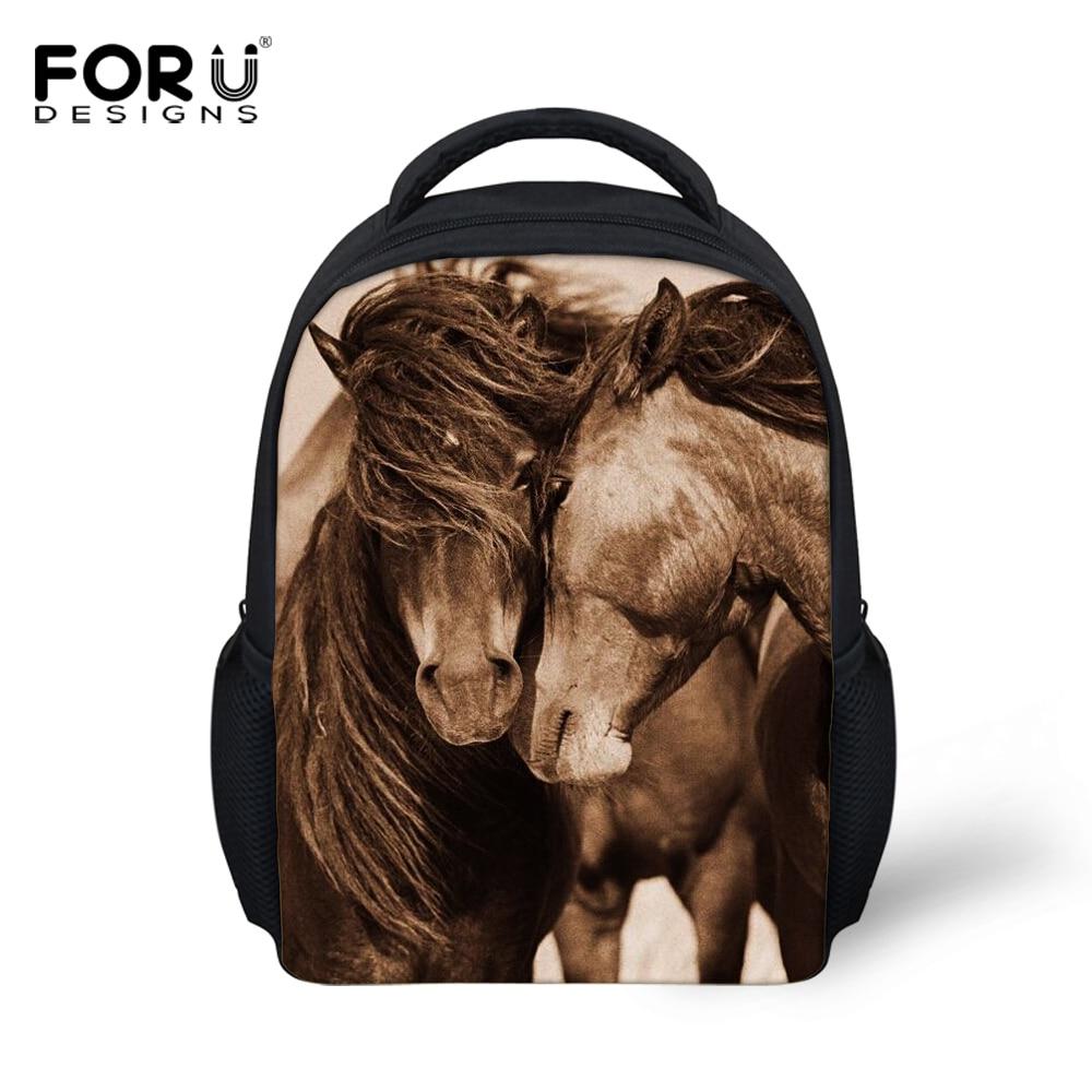 FORUDESIGNS Small Children s font b Backpacks b font Crazy 3D Horse Animals font b Backpack