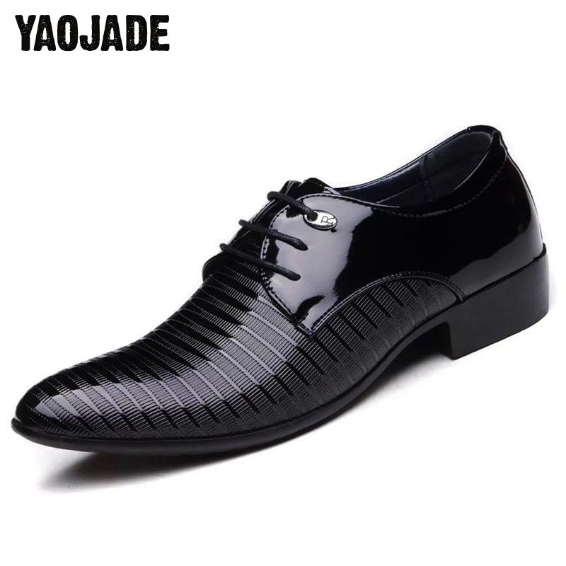 2018 Fashion Men Lace-up Oxfords Dress Shoes Mens Pu Leather Business Office Wedding Flats Man Casual Party Driving Shoes 38-48 men business dress shoes fashion lace up flats genuine leather formal office loafers party wedding oxfords shoes male walkerpeak