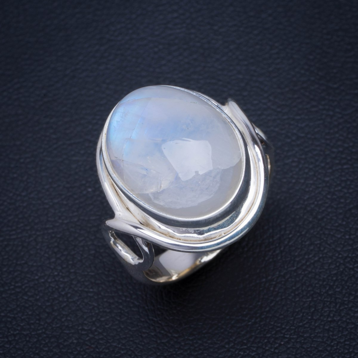 Natural Rainbow Moonstone Handmade Unique 925 Sterling Silver Ring 6.25 B1171Natural Rainbow Moonstone Handmade Unique 925 Sterling Silver Ring 6.25 B1171