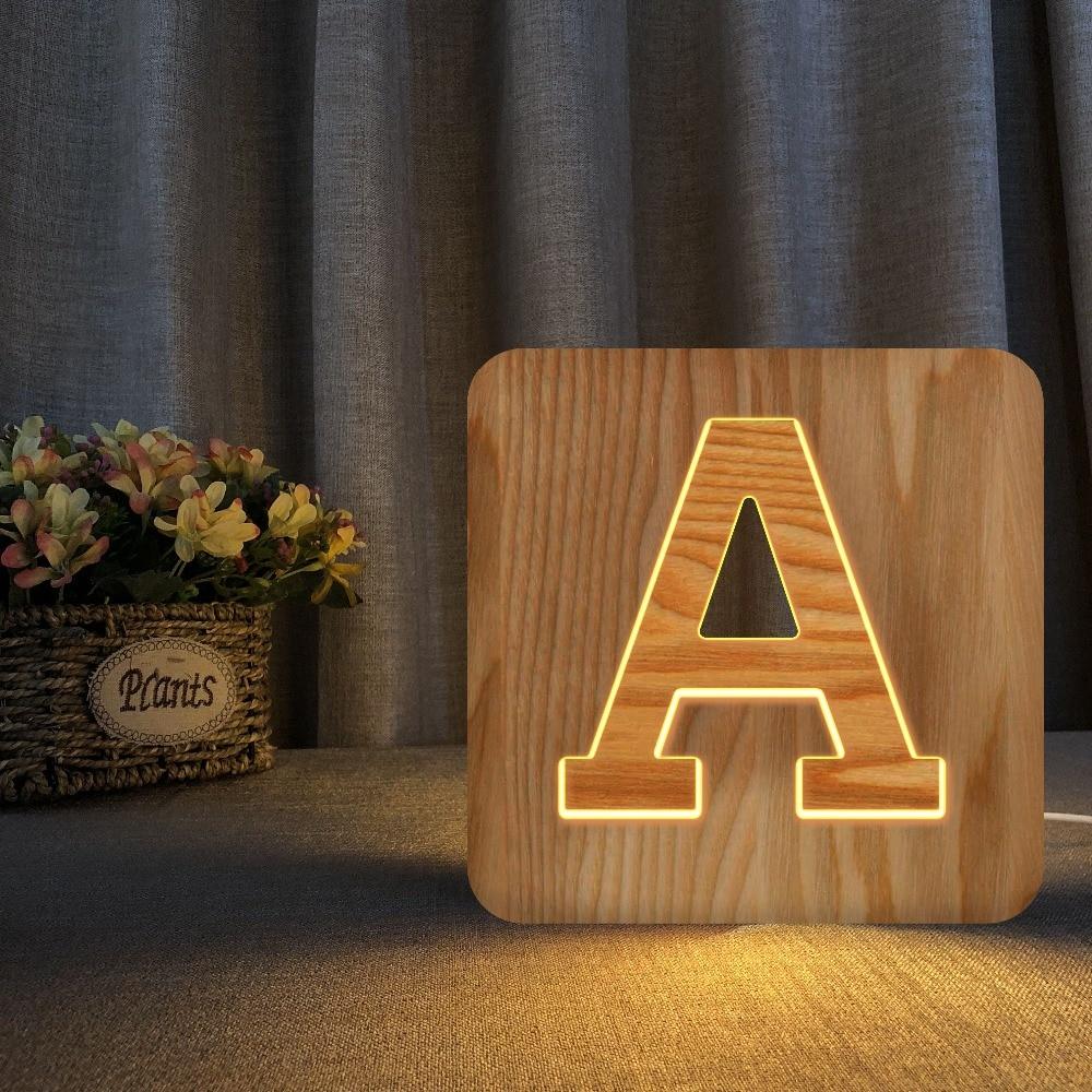 carta de madeira branca conduziu a luz da noite sinal do famoso alfabeto luzes da lampada