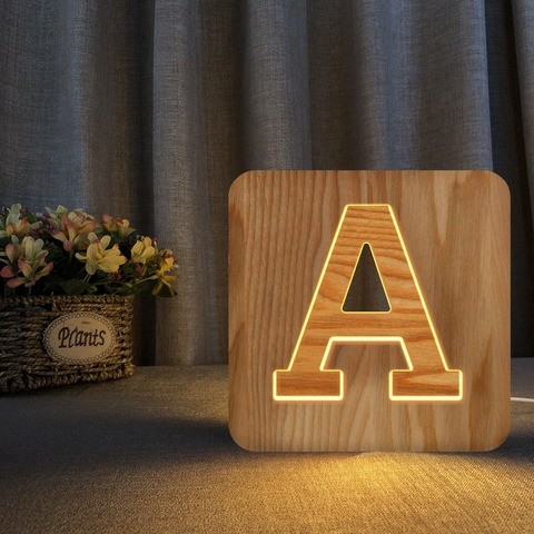 carta de madeira branca conduziu a luz da noite sinal do famoso alfabeto luzes da