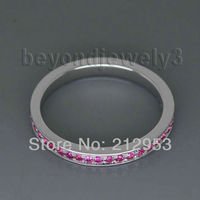 Jewelry Sets Vintage Solid 14Kt White Gold Natural Pink Ruby Wedding Band Ring SR0077