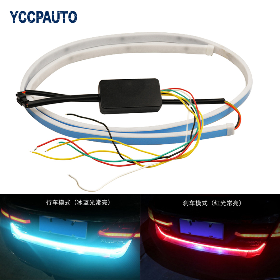 Car-styling LED Light Trunk Strip With Side Turn Signals Rear Lights Car Braking Light For BMW VW DRL Daytime Running Light 47 for vw volkswagen polo mk5 6r hatchback 2010 2015 car rear lights covers led drl turn signals brake reverse tail decoration