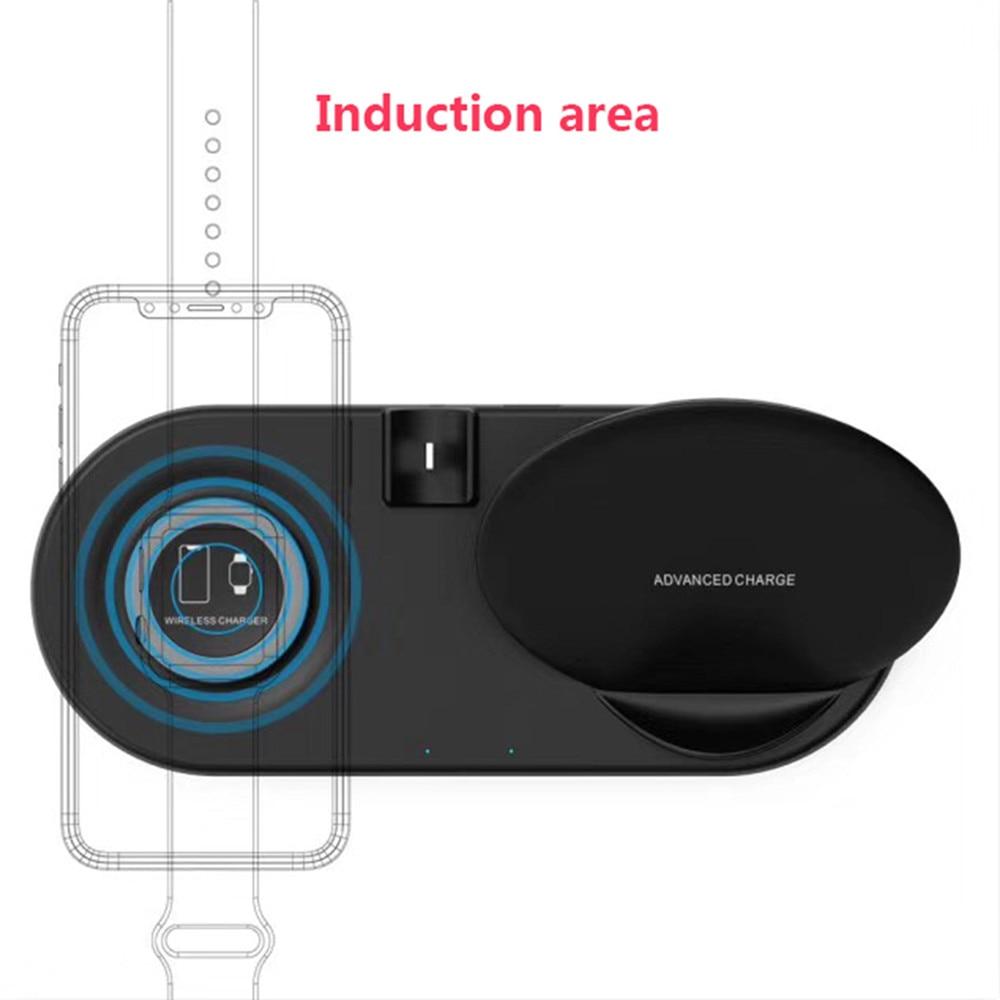 Chargeur Qi sans fil pour iphone pour Apple Watch 4 3 2 1 pour AirPods Station de chargement rapide Qi pour tous les téléphones compatibles Qi