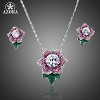 Exclusive Platinum Plated SWA ELEMENTS Austrian Crystal Flower Stud Earrings And Necklace Set FREE SHIPPING Azora