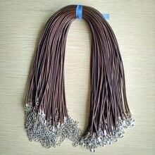 Szybki statek 2mm kawy wosk skórzany przewód sznur naszyjnika 45 cm łańcuch karabińczyk DIY biżuteria akcesoria hurtownie 100 sztuk/partia