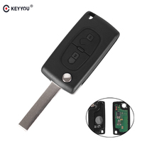 KEYYOU 2 Buttons Remote Flip Key Folding Car Key For Peugeot 207 307 308 407 433MHz