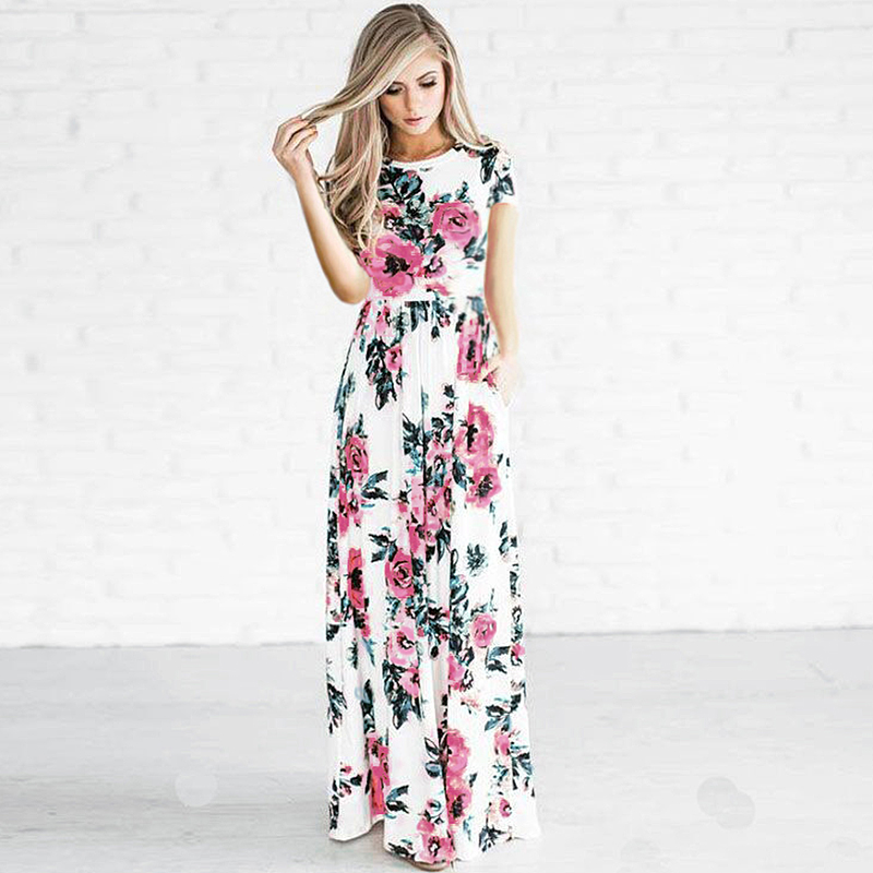 fd88fd8fd0a Court manches longues lâche D été Femmes robe Bohême Imprimé Floral Casual  Robe Dames