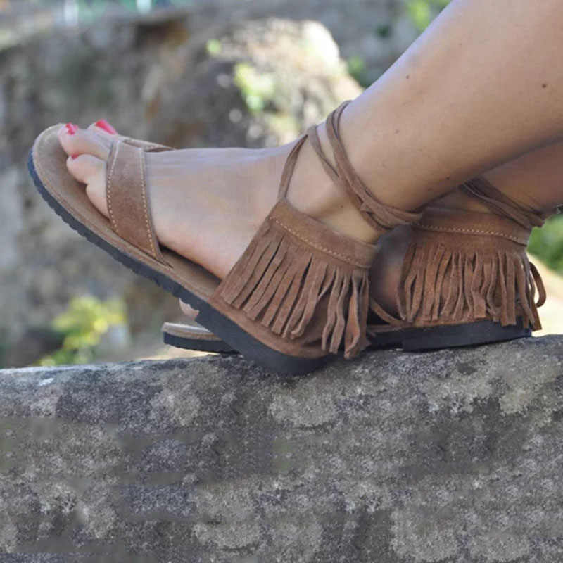 28c08c870 ... Women Sandals Lace Up Fringe Hippie Suede Tassels Gladiator Sandals  Women Casual Summer Shoes Female Flat ...