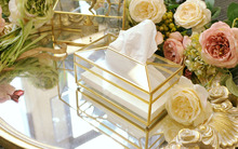 Gold glass mirror tissue box high quality glass makeup tissue storage box with mirror cover free shipping napkin holder box