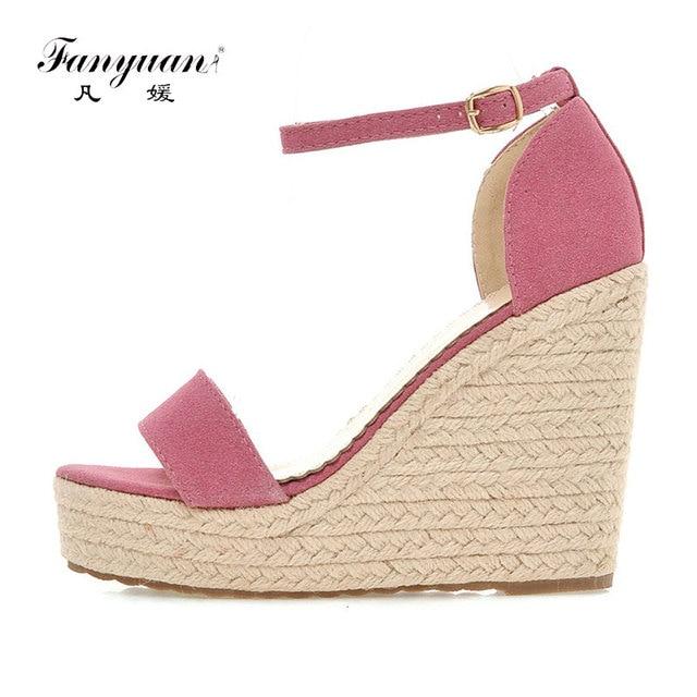 Fanyuan nuovo arrivo di Estate delle donne Della Piattaforma Super-Tacchi alti scarpe cinturino Alla Caviglia Sandali Con Zeppa elegante signore Ufficio Vestito Sandali