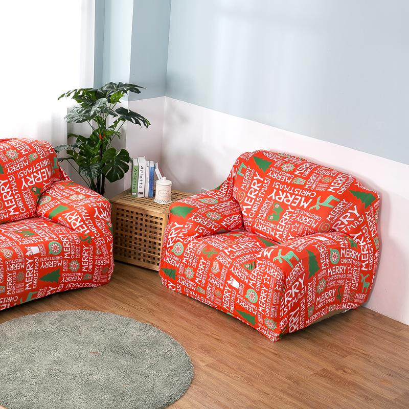 Christmas Letters Printed Stretch Sofa Cover Couch Slipcover Furniture  Protector Cover