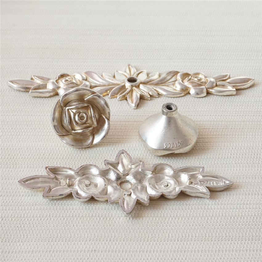 Shabby Chic Rose Dresser Pulls Drawer Knob Pull Handles Back Plate Flower Antique Silver Kitchen Cabinet Pulls Knob Door Handle in Cabinet Pulls from Home Improvement