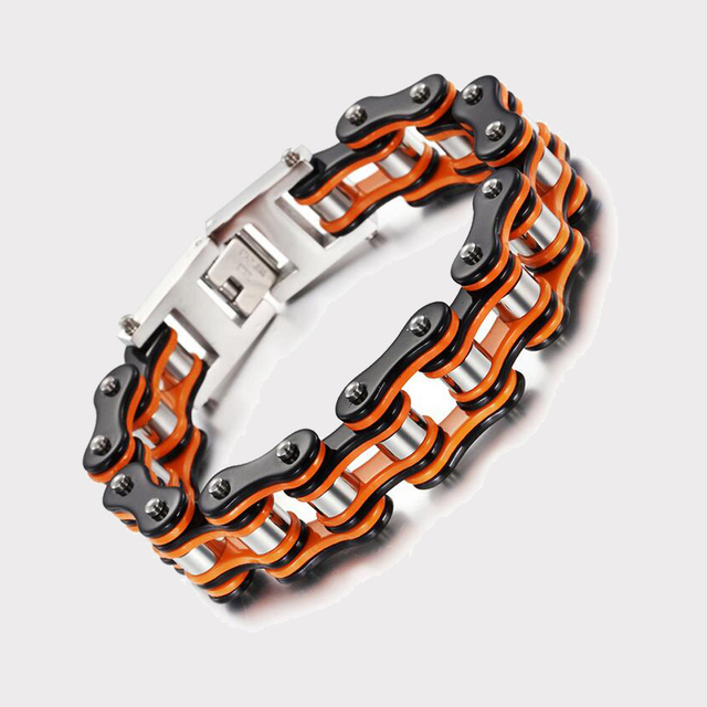 Stainless Steel Men S Sport Bracelets Bicycle Orange Black Color Simple Casual Style Man Bracelet Motorcycle Chain