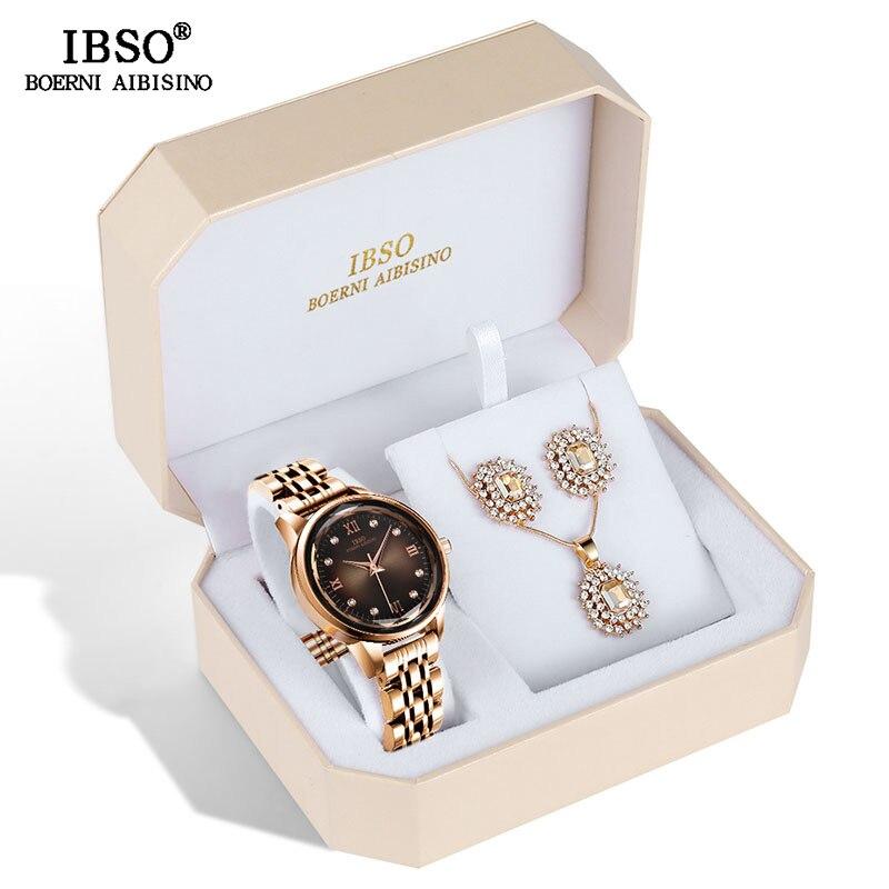 IBSO Brand Women's Watch Set Fashion Earring Necklace WatCh Set Female Jewelry Set Fashion Creative Quartz Watch wife's Gift