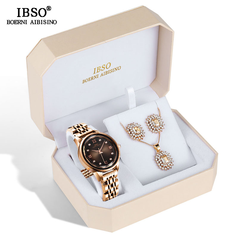 IBSO Brand Women's Watch Set Fashion Earring Necklace WatCh Set Female Jewelry Set Fashion Creative Quartz Watch Wife's Gift
