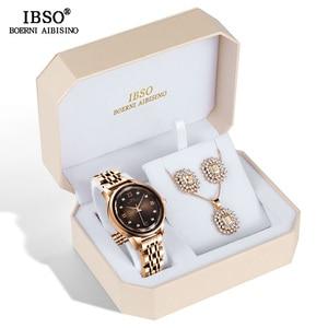 Image 1 - IBSO Merk vrouwen Horloge Set Mode Oorbel Ketting Horloge Set Vrouwelijke Sieraden Set Mode Creatieve Quartz Horloge vrouw gift