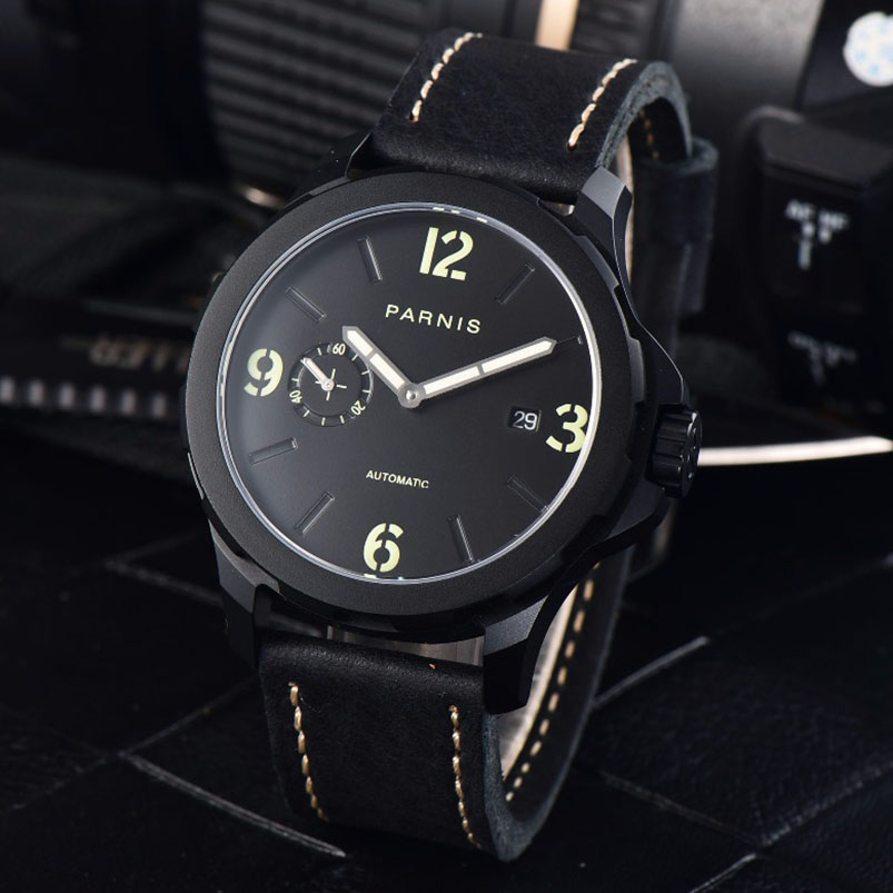 New Arrivals 2017 Mechanical Watch Parnis 44mm Mens Automatic Watch Black PVD Case Luminous 5Bar Waterproof Watch Men цена и фото
