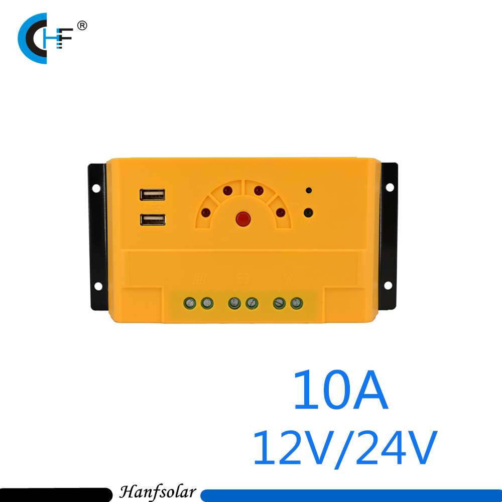 5pcs Lot 10a 12v 24v Led Pwm Solar Charge Controller Usb Output 5v 1a With Load Switch Button Ck20u