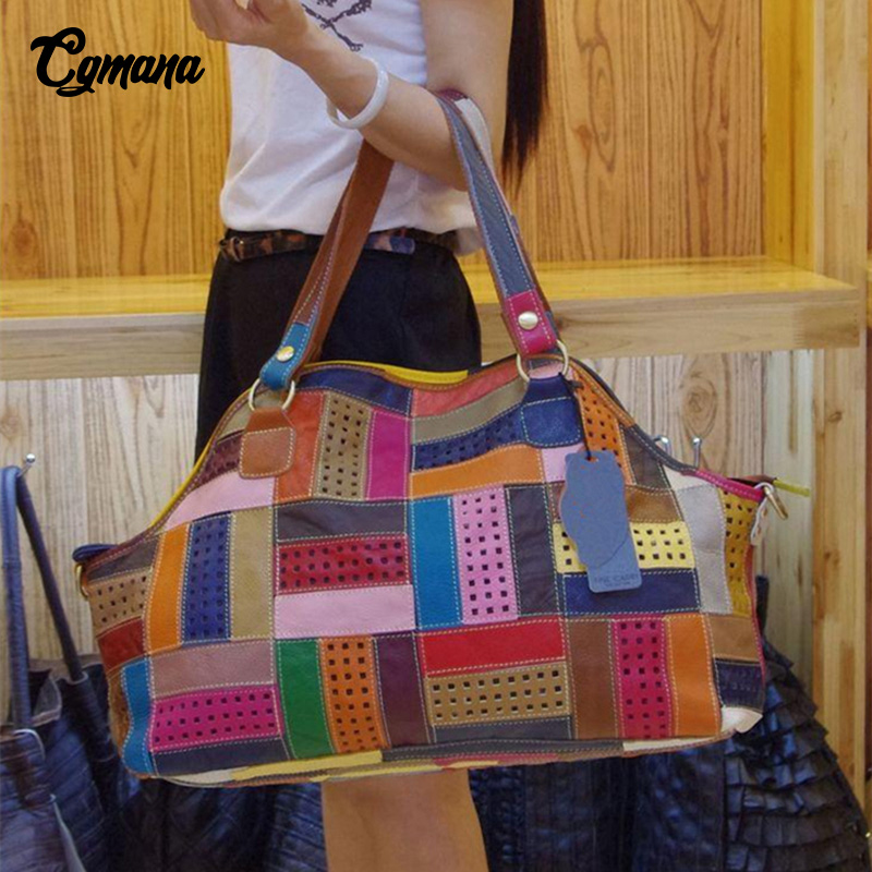 цены CGmana 100% Genuine Leather Women Handbag Colorful Leather Patchwork Shoulder Bag Large Capacity Hollow Stitching Luxury Bag