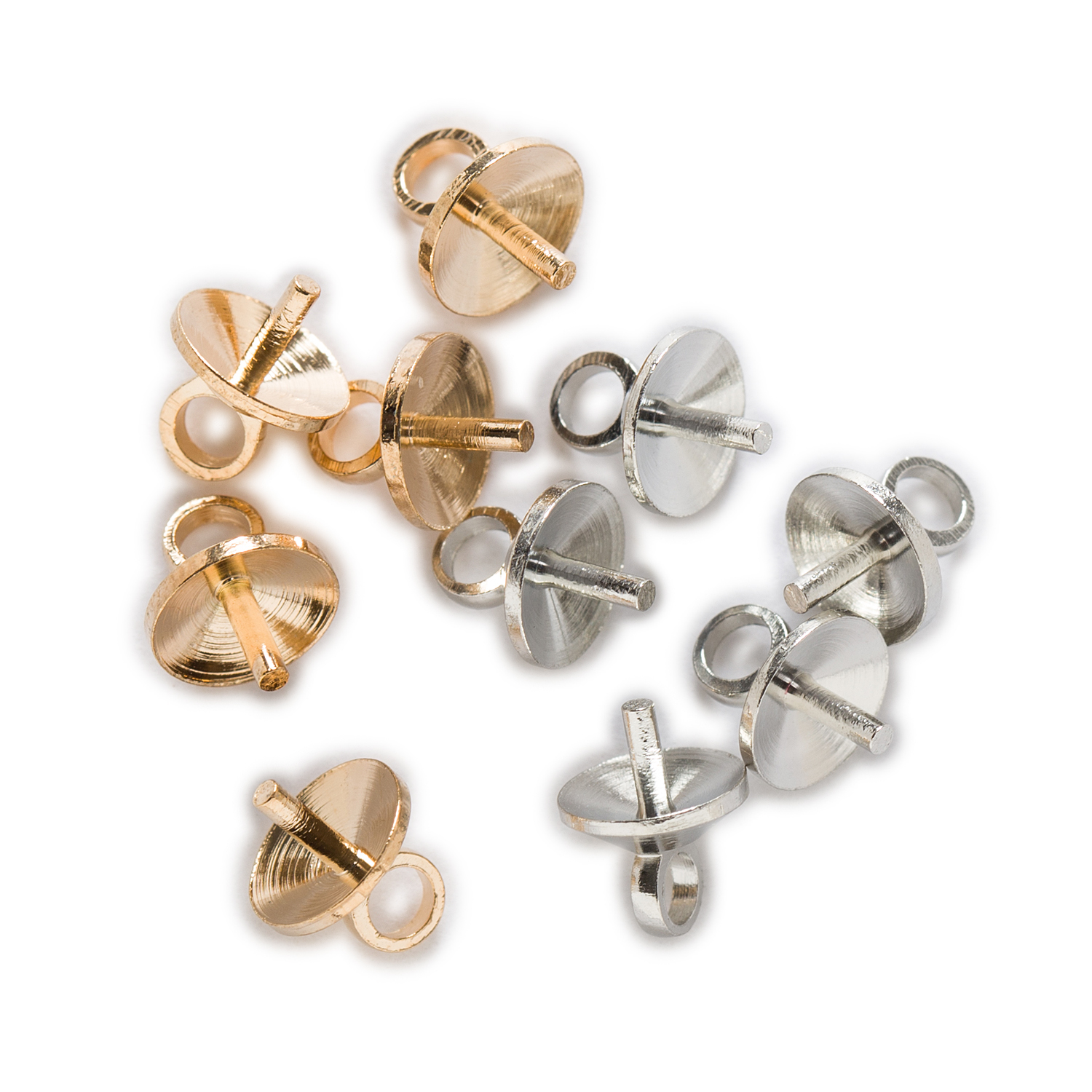 20pcs 925 Sterling Silver Pearl Charms Bail Cap Eye Pin Jewelry Findings 6mm
