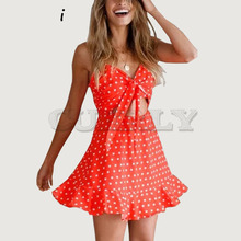 Cuerly Bow lace up star print red summer women dress Chiffon hollow out beach short Ruffle strap dresses vestidos  L5